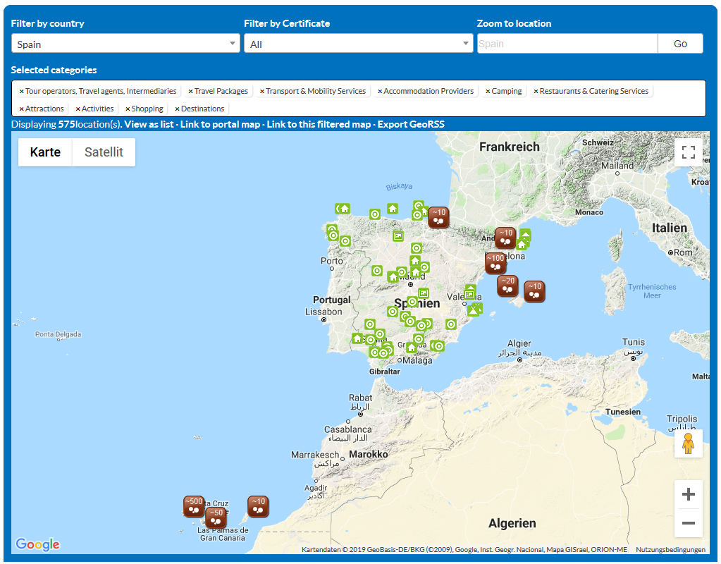 Travel Map Of Spain.Green Travel Map Spain Tourism2030
